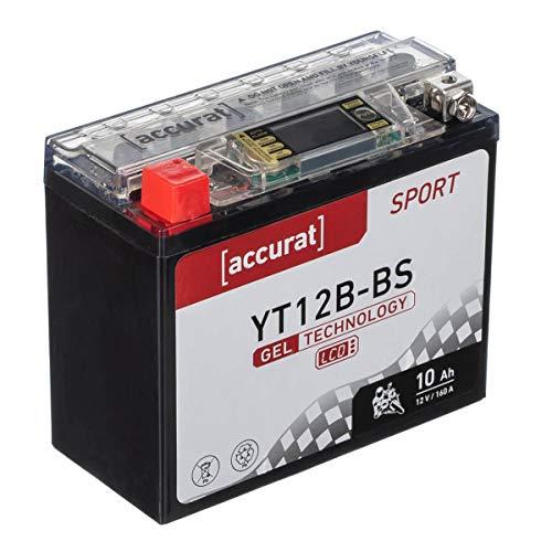 Accurat Motorradbatterie YT12B-BS 10Ah 160A 12V Gel Technologie + LCD Display Starterbatterie leistungsstark rüttelfest ABS geeignet wartungsfrei