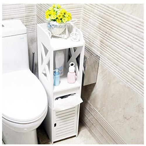 Uxinse Badezimmer-Aufbewahrung, Eck-Bodenschrank, WC-Waschtisch, Waschbecken-Organizer, 15 x 20 x 80 cm, Holz, Kunststoffplatte, UK