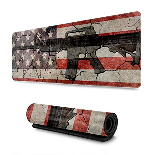 American Flag Gun Extended Gaming Mouse Pad Large Mousepad with Stitched Edges, Keyboard Pads Mat for Gamer Computer Office Home 31.5x11.8 in