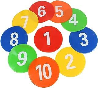 Tbest 10 stycken fotbollsträningsapparater fotboll-markör platta skivor PVC cirkel landmärke pad runda platta skyltar Disc...