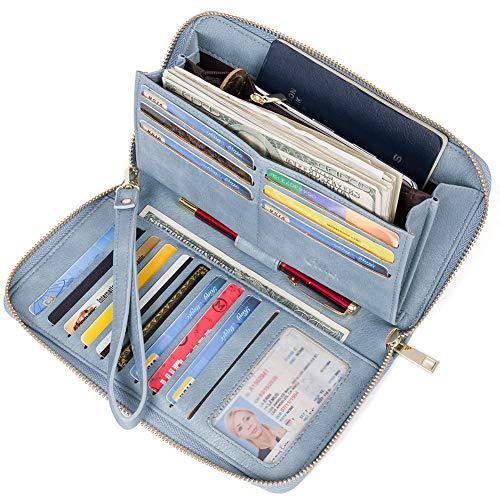 Women Wallet Large Leather Designer Zip Around Card Holder Organizer Ladies Travel Clutch Wristlet Blue