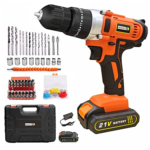 """Cordless Drill Power Set, MVOTOL 21V Power Drill Driver Tool with 2000mAh Battery & Fast Charger, 60 pcs Accessories Electric Drill Set with 3/8"""" Keyless Chuck & 25+3 Torque Electric Screw Driver"""