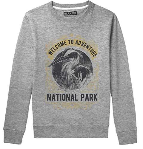 BLAK TEE Unisex Welcome to Adventure National Park Camping Slogan Sweat-Shirt L