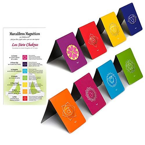 Marcalibros Magnéticos en Español de Los Siete Chakras, Diseños Originales con Información Sobre Los Chakras y Energía Equilibrada, 2,6 x 4 cm Tamaño Plegado (8 pieza)