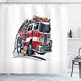ABAKUHAUS LKW Duschvorhang, Feuerwehr LKW, mit 12 Ringe Set Wasserdicht Stielvoll Modern Farbfest & Schimmel Resistent, 175x200 cm, Babyblau Scharlachrot