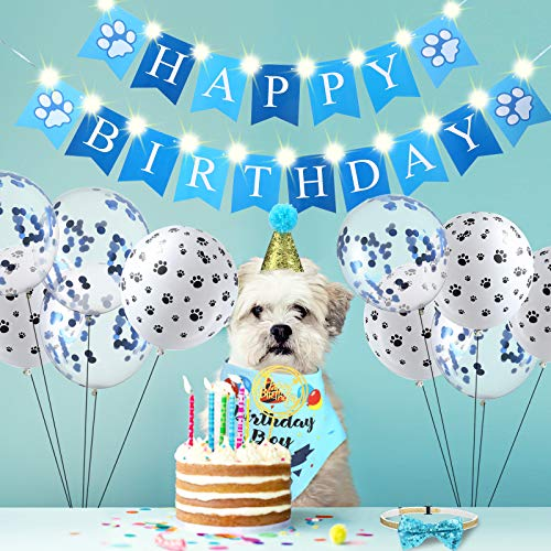 Suministros de Cumpleaños de Perros, Bandana de Cumpleaños de Perro Lindo Gorro de Cumpleaños Collar de Pajarita Banner de Happy Birthday con 2 Cadena de Luces LED en 2 Modos Intermitentes