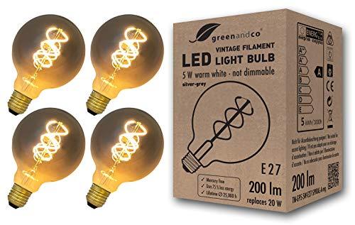 4x greenandco® Vintage Glühfaden LED Lampe silbergrau ersetzt 20W E27 G95 5W 200lm 2200K extra warmweiß 360° 230V nicht dimmbar 2 Jahre Garantie