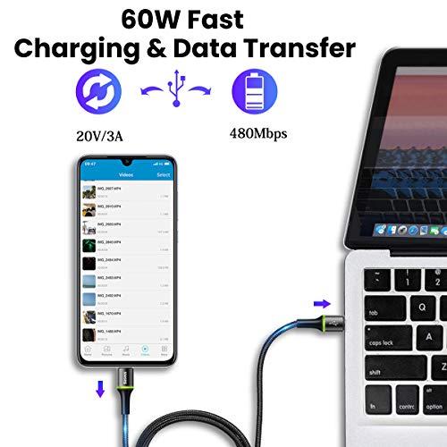 USB C auf USB C Kabel, PD 60W Schnellladekabel 2M Nylon geflochten Ladekabel kompatibel mit Galaxy S8, S8+, Google Pixel, Nexus 6P, Huawei Matebook, MacBook, iPad Pro 2018 und mehr