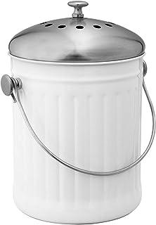 Avanti Stainless Steel Compost Bin, 5 Litre Capacity, White