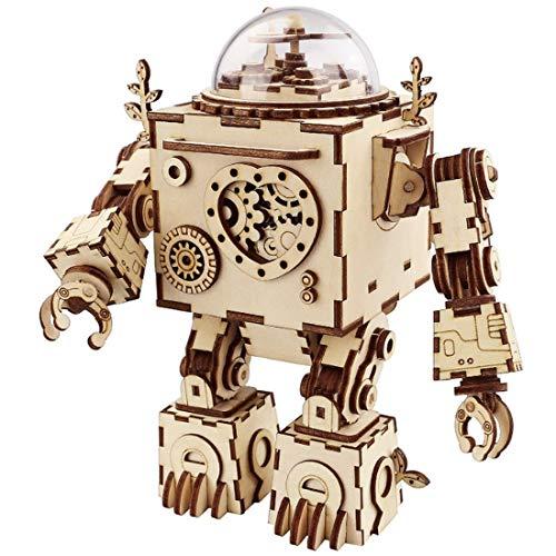 MOEGEN 221 Pcs Laserschnitt 3D Puzzle Hölzerne Modell Kits zu Gebäude Geschenk für Kid und Erwachsene - Musikbox (Roboter)