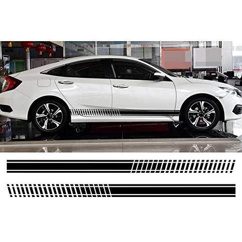 ASDFGZXC Auto Pegatinas de Calcomanías Body Stripe Lateral, para Audi, para BMW, para Ford, para VW, para Renault, calcomanías Adhesivas para Coche, Ajuste Universal para Coche, Deportes a Rayas DIY