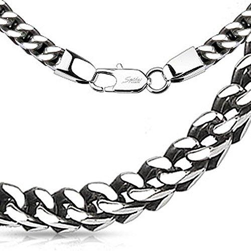 Bungsa® Königskette gewebt massiv Edelstahl Halskette Silber 5mm dick Biker (Edelstahlkette Damenkette Herrenkette Necklace Herren Frauen Männer Schmuck)