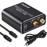 Techole Convertisseur audio numérique vers analogique 192 kHz en aluminium avec câble optique et coaxial numérique SPDIF Toslink vers analogique stéréo L/R et adaptateur audio stéréo jack 3,5 mm pour PS4 Xbox HDTV Blu Ray DVD