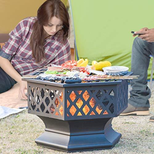 DADEA Braciere multifunzione con griglia, braciere 3 in 1 per esterni, Fire Pit per riscaldamento/barbecue, quadrato, in metallo, con custodia impermeabile