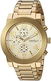 Caravelle New York Men's Quartz Watch with Stainless-Steel Strap, Gold, 12 (Model: 44A105)