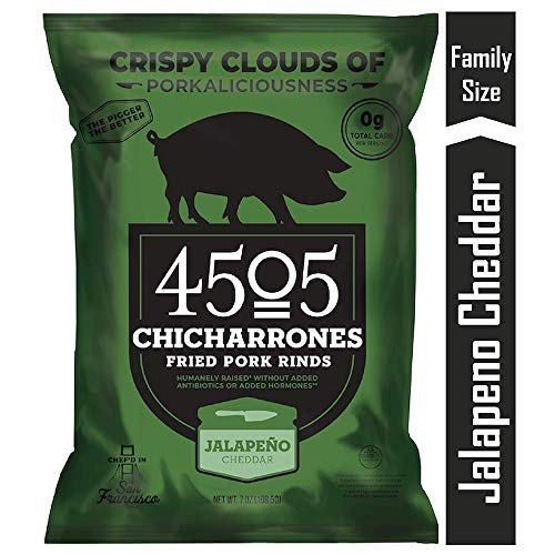 4505 Jalapeno Cheddar Pork Rinds, Certified Keto, Humanely Raised, Family Size Bag, 7oz