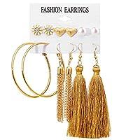 Nicircle 6ペアファッションラインストーンクリスタルパールピアスセット女性の耳スタッドジュエリー イヤリング 女性用アクセサリー ワイルド デート セクシー 6 Pairs Fashion Rhinestone Crystal Pearl Earrings Set Women Ear Stud Jewelry