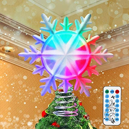 IPOW 10 Mode Multicolor LED Christmas Tree Topper Remote Control Snowflake Ornaments Glitter product image