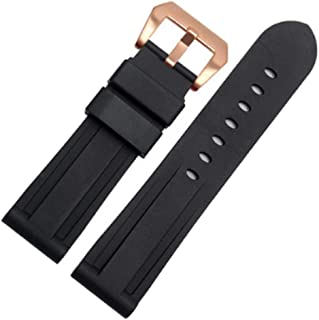 22mm/24mm Rubber Silicone Watch Band PVD Tang Buckle Strap Fits for Panerai PAM00362 PAM00111 PAM00386