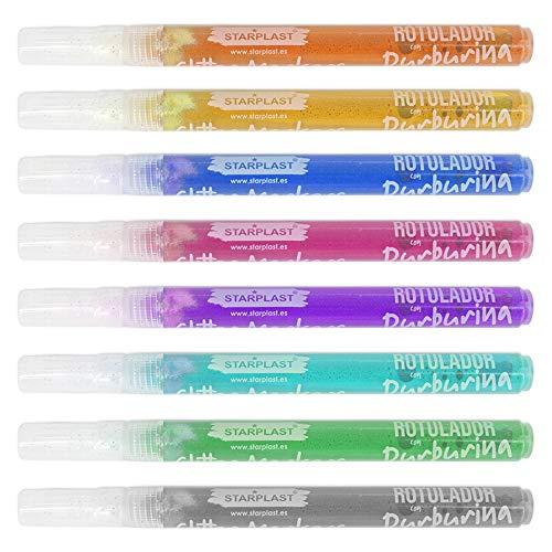 ROTULADORES DE PURPURINA STARPLAST - Rotuladores con punta 1-2 mm, línea con purpurina, 8 Colores, para manualidades - Pack 8
