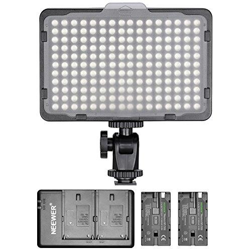 Neewer - Panel de luz 176 LED Regulable con 2 Pilas de Litio 2600 mAh Cargador Doble a USB para réflex Digitales Canon Nikon etc. para grabaciones de vídeo en Estudio fotográfico