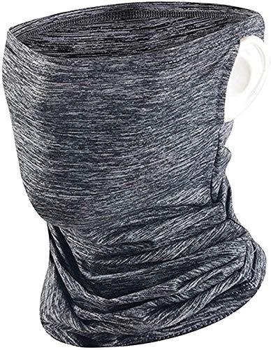 Bandana Face Masks with Ear Loops and Filter Pockets + 3PC PM2.5 Filters | Unisex Balaclava for Men Women (Gray)
