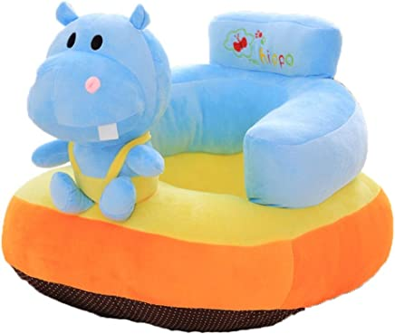 Baby sofa Infant Sitting Chair Sofa Babys Support Seat Kids Stuffed Cartoon Animal Plush Toys Toddler Sofa Protector Couch Bed Children Sofa Backrest Chair Color Cartoon Hippo Size One size