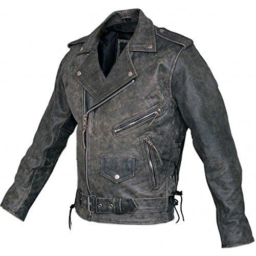 Australian Bikers Gear Motocicleta Vintage Retro Envejecido Funda de Cuero Harley Chaqueta CE Armour (Med 38