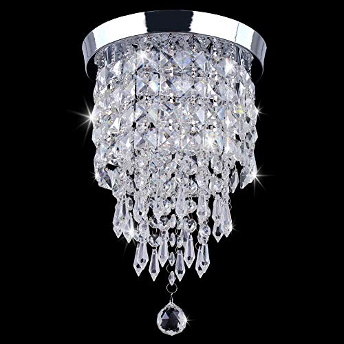 TongLan Crystal Chandelier, 2 Light Flush Mount Ceiling Light, H12.59 x W7.87 inches Modern Mini Chandelier Lighting Fixture for Bedroom, Living Room, Dining Room, Hallway, Kitchen