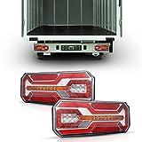 """Mesllin 2pcs 38W fanali posteriori rimorchio LED, 13.78"""" Impermeabile IP67 12/24V, Rimorchi LED Fanali del Freno per camion rimorchio, furgoni, camper e autobus, 3 colori(152 chip LED-1 coppia)"""