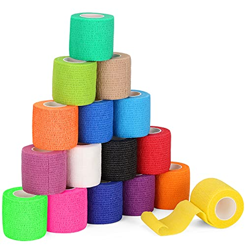 "(16-Pack) 2""x 5 Yards Self Adhesive Bandage Wrap, Breathable Vet Wrap Cohesive Bandage First Aid..."