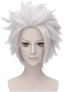 Anogol Hair Cap+Short Layered White Hair Wig for Anime Cosplay Wig Synthetic