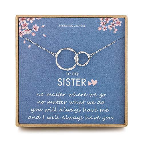 NOURISHLOV Sister Gifts for Her - Sterling Silver Interlocking Infinity 2...