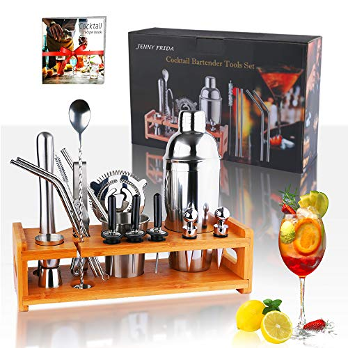 Cocktail Shaker Set with Stand JENNY FRIDA 23pcs Professional Bartender Kit with 25.4oz Shaker,Mixing Spoon,Jiggers,Liquor Pourers with Caps,Stoppers,Muddler,strainer,Ice Tongs,Straws,Recipe Book