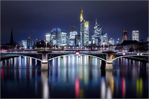 Posterlounge Acrylglasbild 60 x 40 cm: Frankfurt Skyline Nacht von Frankfurt am Main Sehenswert - Wandbild, Acryl Glasbild, Druck auf Acryl Glas Bild
