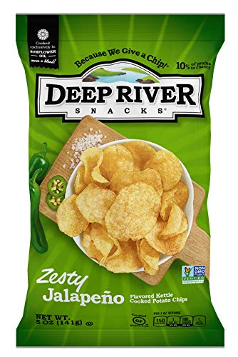 Deep River Snacks Kettle Potato Chips, Zesty Jalapeno, 5-Ounce (Pack of 12), Gluten Free, Non GMO (Best South Indian Restaurant In Orlando Fl)
