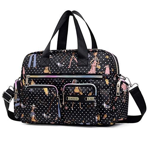 Bolsa de viaje impermeable de nailon con múltiples bolsillos para hombro, bolsa de viaje para toda la noche, para el fin de semana, bolsa de bebé para mujeres y niñas (belleza negra)