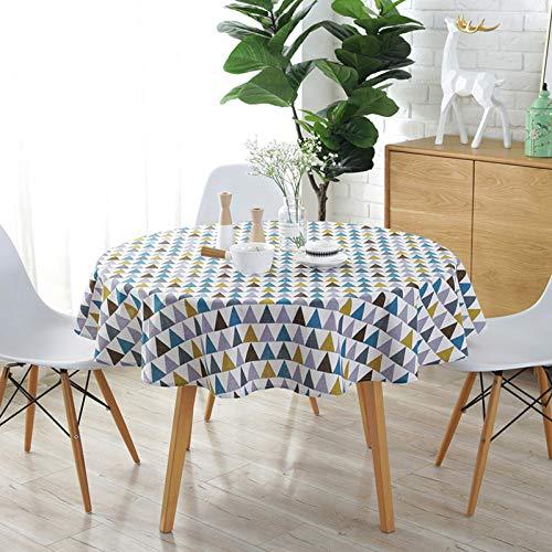 shiyueNB tafelkleed van polyester, katoen, rond, driehoekig, geel, rijst met grijze pijl, tafelkleed van katoen en linnen, bedrukt 100cm rond 0.17kg Rozengoud.