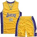 YCJL Camiseta De Baloncesto NBA Jersey Kobe Bryant # 24 Lakers Camiseta Y Pantalones Cortos De Baloncesto Traje De Jersey para Niños, Traje Deportivo De Malla Transpirable,Amarillo,M:130~140cm