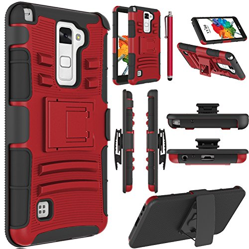 LG Stylo 2 Plus Case, LG Stylus 2 Plus Case, EC Dual Layer Rugged Holster Case Cover with Kickstand & Belt Swivel Clip for LG G Stylo 2 Plus/LG Stylus 2 Plus (Red+Black)