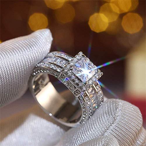 925 Sterling Silver Shiny Full Diamond Gemstone Ring Cubic Zirconia Rings CZ Diamond Multi Row Ring Eternity Engagement Wedding Band Ring for Women (US Code 7)