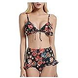 VODMXYGG Moda de Las Mujeres Sexy poliéster Impreso Bikini Split Bikini de Dos Piezas Traje de baño de baño Adecuado Viajes Playa 0916290