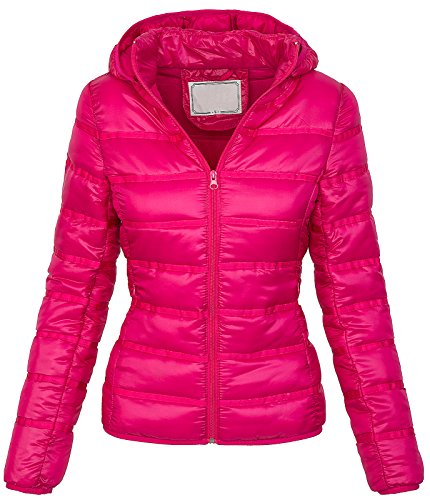 Rock Creek Selection Damen Steppjacke Übergangs Jacke Kapuze Kurzjacke warm [D-206 - Plum - Gr. L]