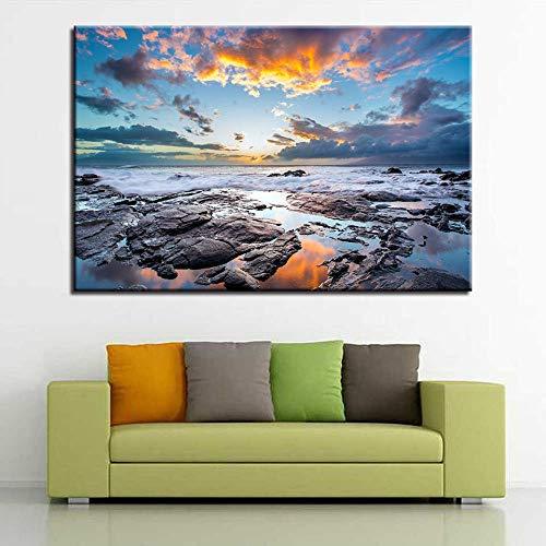 Woonkamer met canvas woondecoratie high definition gedrukt zee golf rif zeegezicht schilderij poster muur schilderen 60x80 cm (frameloze)