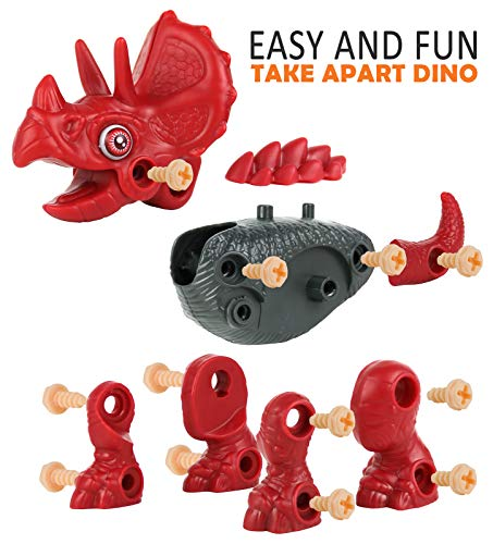 Take Apart Dinosaur Toy with Kids Electric Drill and Screwdriver Stem Building Educational Triceratop Toy for Toddlers