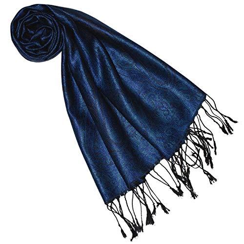 Lorenzo Cana Seidenschal für Frauen Schal 100% Seide gewebt Damenschal elegant Paisley Muster Ton in Ton dunkelblau blue 7841177