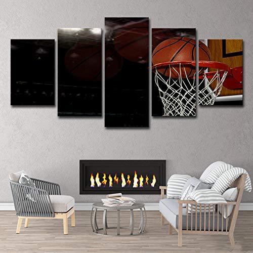 13Tdfc Moderne Wandbilder XXL Wohnzimmer Wohnkultur 5 teilige leinwandbilder XXL Kreatives Geschenk wanddeko Basketballkorb Malerei
