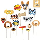 Puppy Dog Party Costume Props, 18 Pack Dog Photo Booth Props for Dog Themed Birthday Party Decorations