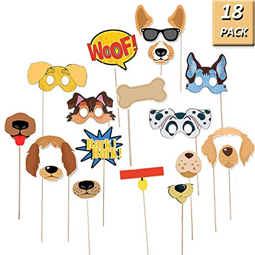Puppy Dog Party Costume Props – 18 Pack Dog Photo Booth Props for Dog Themed Birthday Party Decorations