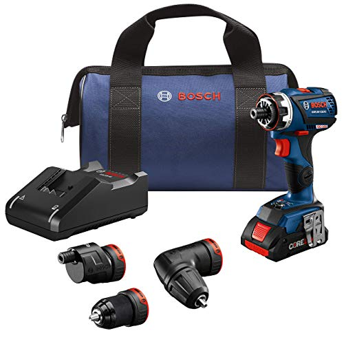 Bosch GSR18V-535FCB15 18V EC Brushless Connected-Ready Flexiclick 5-In-1 Drill/Driver System with (1) CORE18V 4.0 Ah Compact Battery (Renewed)